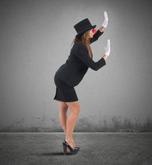Mime businesswoman