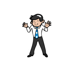 Businessman smiles and waves his hands