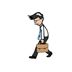 Businessman walks slowly and tried