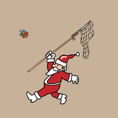 Santa catching butterfly by net