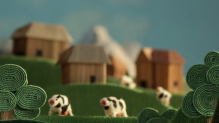 Countryside landscape with cows, farms and meadows - animation