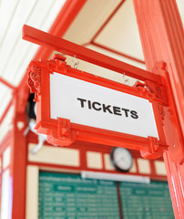 Sign indicating where you can buy tickets