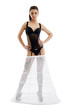Sexy bride in erotic black lingerie and petticoat