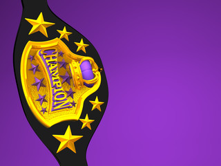 Closeup Of Champion Belt On Purple Text Space