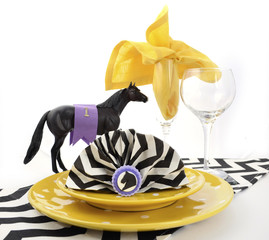 Horse racing carnival event luncheon table place setting