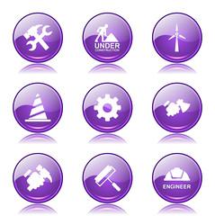 Construction Tools Violet Vector Button Icon Design Set 2