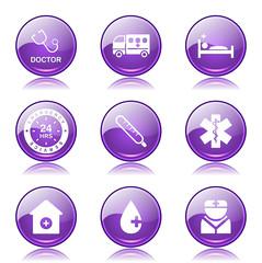 Hospital Health Violet Vector Button Icon Design Set 2