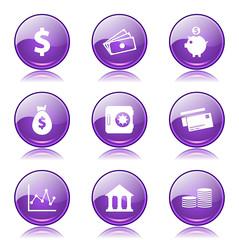 Financial Banking Violet Vector Button Icon Design Set