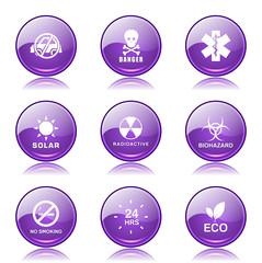 Warning Sign Violet Vector Button Icon Design Set