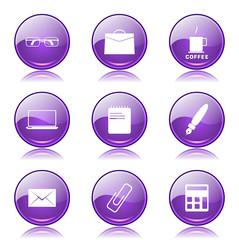 Office Work Violet Vector Button Icon Design Set