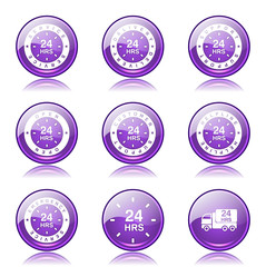 24 Hours Services Violet Vector Button Icon Design Set