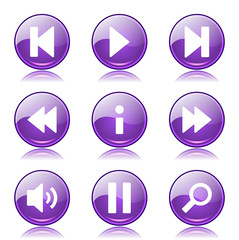 Multimedia Controller Violet Vector Button Icon Design Set