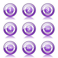 Warranty Guarantee Seal Violet Vector Button Icon Design Set