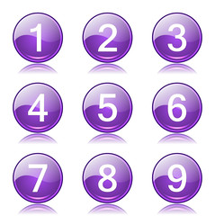 Numbers Counting Violet Vector Button Icon Design Set