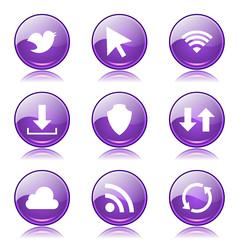 Web Internet Social Violet Vector Button Icon Design Set