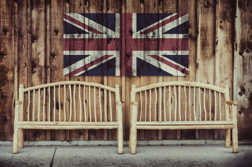 Rustic Log Benches with United Kingdom Flag