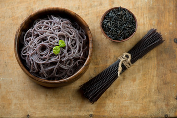 Japanese noodles made from black rice, studio shot, above view