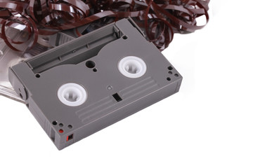 The Music Casette on the white background