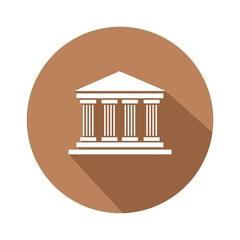 Icono museo marrón botón sombra