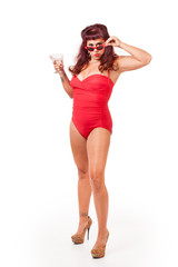 Pin-up in retro bathing suit