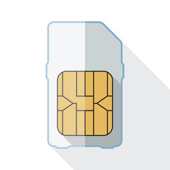 Sim card icon with long shadow on white background
