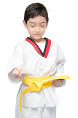 Little tae kwon do boy martial art close eye concentrate
