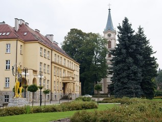 center of Wisla town with evangelish church