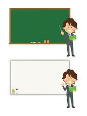 黒板・ホワイトボード_教師