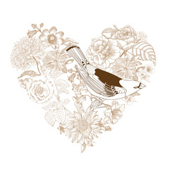 Calligraphic Hand drawn Heart - from Flowers and Birds