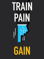 Words TRAIN PAIN GAIN