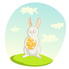 easter illustration with rabbit