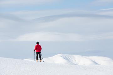 Man walking on ski in mountain