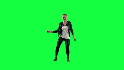 Dancer against a green background