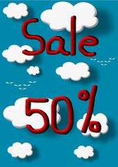 Sale 50 percent discount illustration