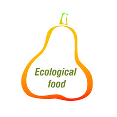Pear with text Ecological food. Logo, label