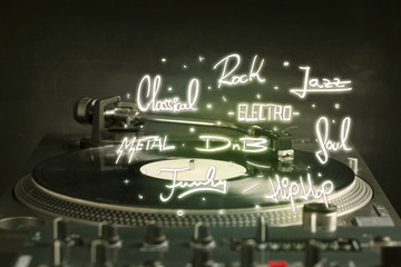 Turntable with vinyl and music genres writen