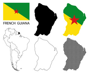 French Guiana Flag, vector map contours and South America flag