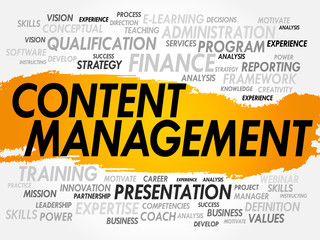 Word cloud of Content Management related items