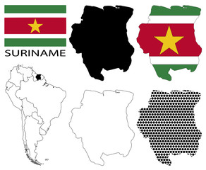 Suriname - Flag, four vector map contours and South America flag