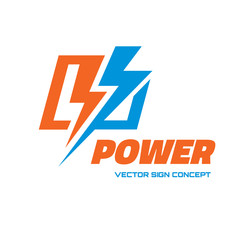 Power - vector logo. Lightning and electricity logo.