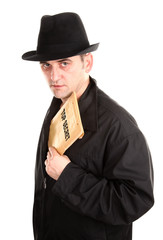 Agent is holding envelope top secret