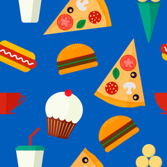Seamless vector pattern with fast food