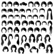 woman nad man hair, vector hairstyle silhouette - 78144118