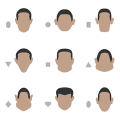 set of flat face shape, vector people icon, head silhouette type