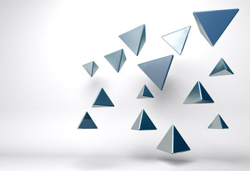 abstract background with group of chrome triangles