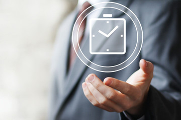 Businessman hand press web clock time button icon