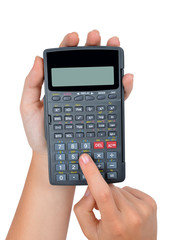 hands with calculator isolated on white background