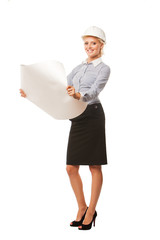young businesswoman architect holding blueprints isolated on