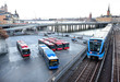 Subway trains crossing bridge in central Stockholm - 78144917