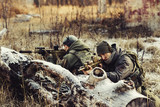 two soldiers in an ambush aim at the enemy poster